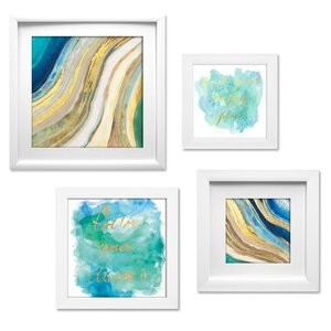 Geode Collage 4 Piece Framed Graphic Art Set by Beachcrest Home