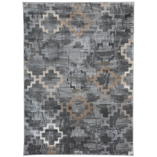 Lancaster Distressed Contemporary Design Gray Area Rug by Union Rustic