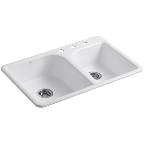 Efficiency 33 L x 22 W x 7-5/8 Top-Mount Large/Medium Double-Bowl Kitchen Sink by Kohler