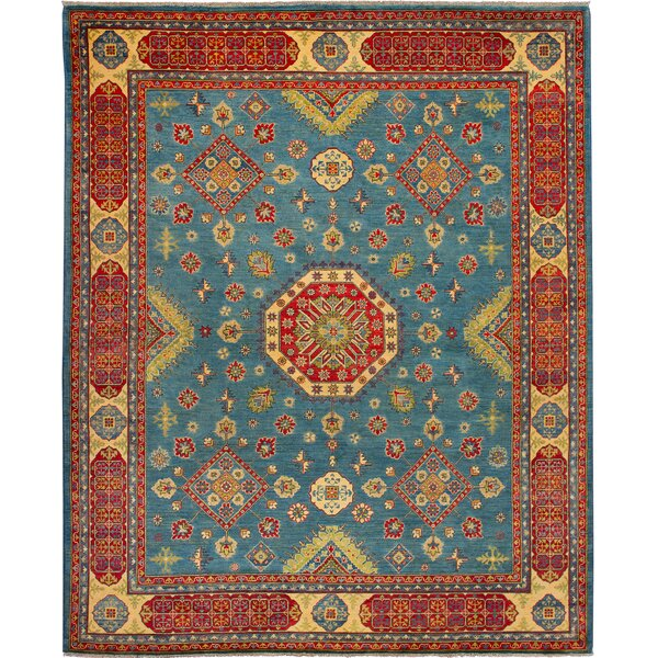 One-of-a-Kind Aghavary Hand-Knotted Wool Blue/Orange Area Rug by Isabelline