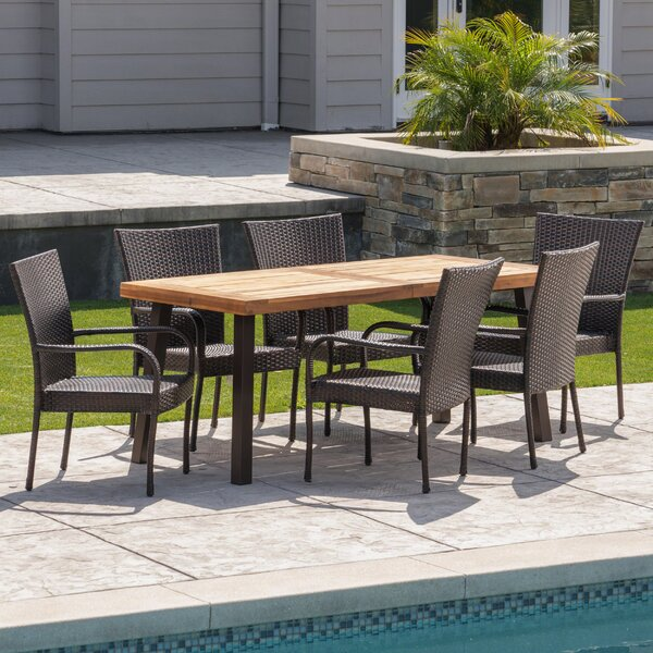 Henthorn Outdoor Acacia Wood/Wicker 7 Piece Dining Set by Wrought Studio