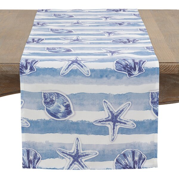 Ararinda Watercolor Waves Table Runner by Highland Dunes
