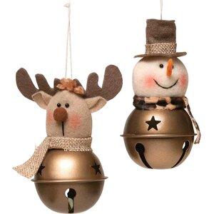 Safari 2 Piece Bronze Bell Ornament Set