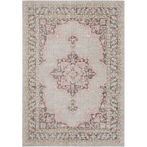 Barnegat Distressed Medium Gray/Bright Pink Area Rug by Bungalow Rose