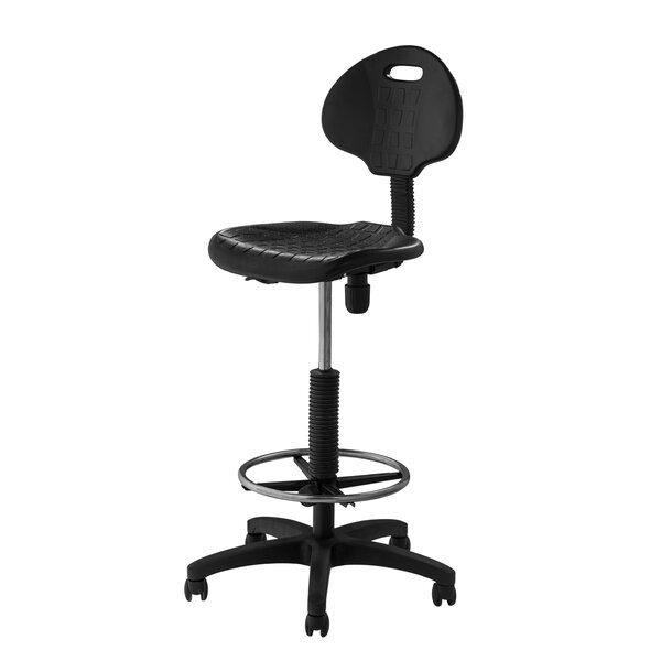 Height Adjustable Self Skin Polyurethane Stool with Backrest by National Public Seating