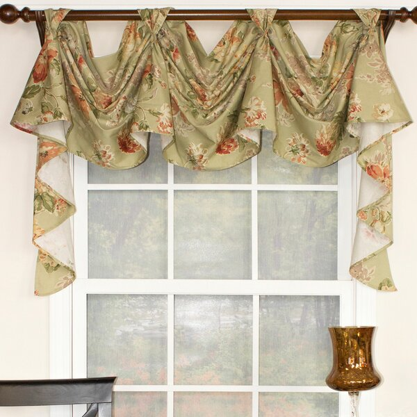 Rosemary Linen Kitchen Curtain Swag: RLF Home Floral Essence 3-Scoop Victory Swag Curtain