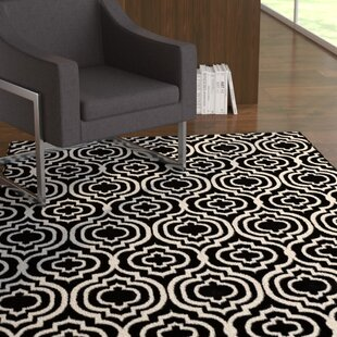 Comparison Nystrom Frame Transitional Moroccan Trellis Black/White Area Rug By Ebern Designs