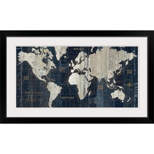 Maps framed art youll love wayfair old world map blue graphic art print gumiabroncs Image collections