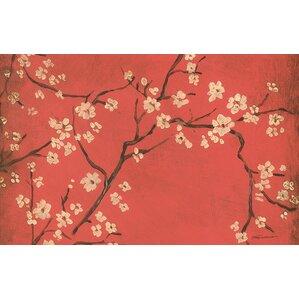Wonderful Golden Cherry Blossom Red Area Rug