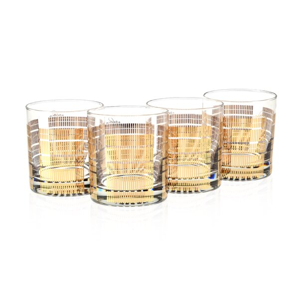 Angeles Striped 11 Oz. Old Fashion Gold 22K Glass (Set of 4) by Langley Street