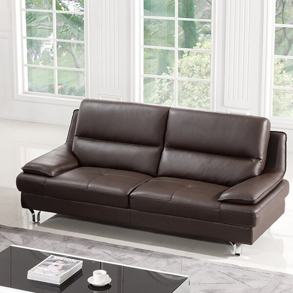 Our Recommended Hillwill Leather Sofa by Orren Ellis by Orren Ellis