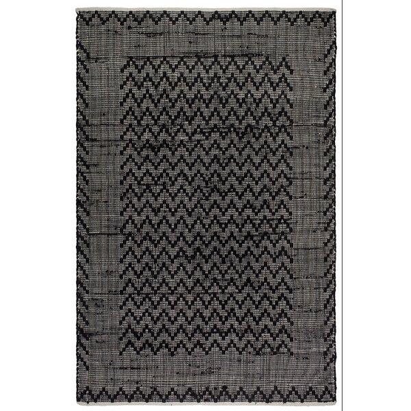 Zen Allure Hand-Woven Black/Cream Area Rug by Fab Habitat