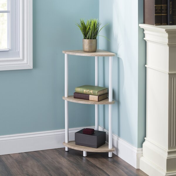Santana Pine Wood 3 Tier Arc Corner Bookcase By Rebrilliant
