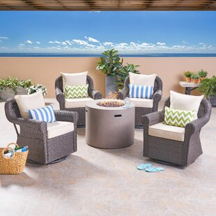Leber Outdoor 5 Piece Rattan Sofa Seating Group with Cushions ByDarby Home Co