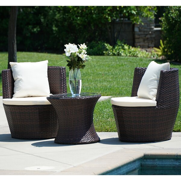 Helvey 3 Piece Seating Group with Cushions by Wrought Studio