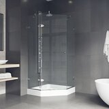 Verona 34.063 x 73 Neo-Angle Hinged Shower enclosure with Base Included by VIGO
