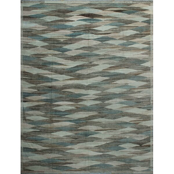 Howerton Hand-Knotted Wool Gray Area Rug by Red Barrel Studio