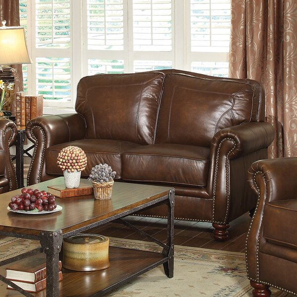 Latest Collection Linglestown Leather Loveseat by Darby Home Co by Darby Home Co