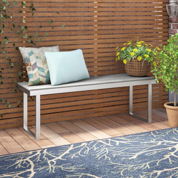 Salvatore Grey Patio Picnic Bench by Wade Logan