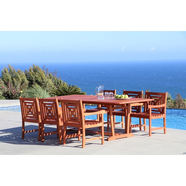 Amabel 7 Piece Solid Wood Dining Set by Beachcrest Home