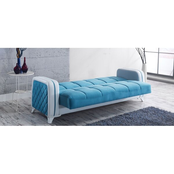 Elite Convertible Sleeper Sofa Blue/White By Brayden Studio®
