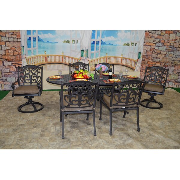 Simms 7 Piece Sunbrella Dining Set with Cushions by One Allium Way