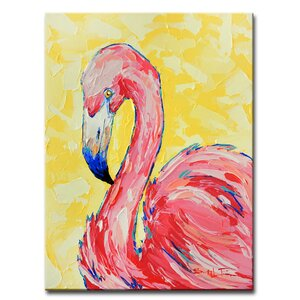 'Flamingo' by Sarah LaPierre Painting Print on Wrapped Canvas by Ready2hangart