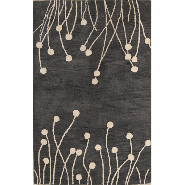 Rahul Oushak Indian Oriental Hand-Tufted Wool Gray/Charcoal Area Rug by Red Barrel Studio