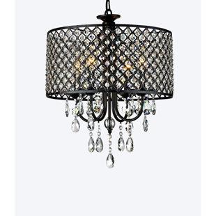 round light fixture kitchen mckamey round 4light crystal chandelier light fixture wayfair