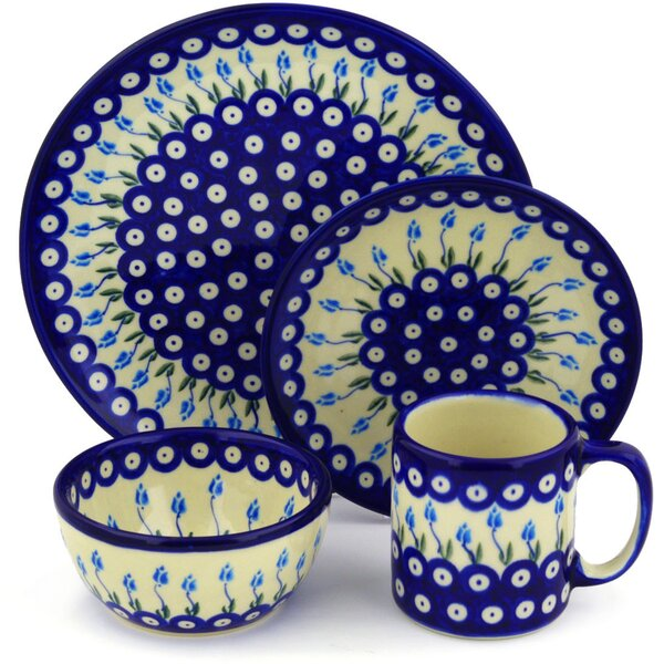 Floral Peacock Polish Pottery 4 Piece Place Setting, Service for 1 by Polmedia