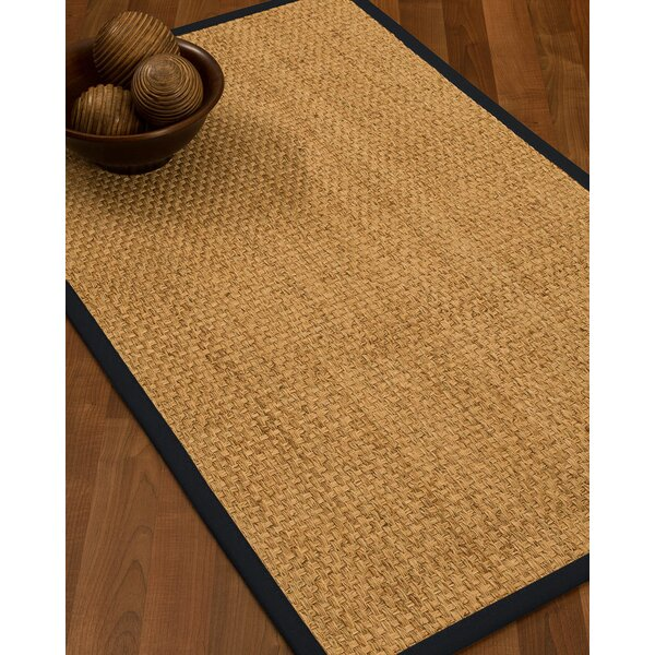 Caster Border Hand-Woven Beige/Midnight Blue Area Rug by Highland Dunes