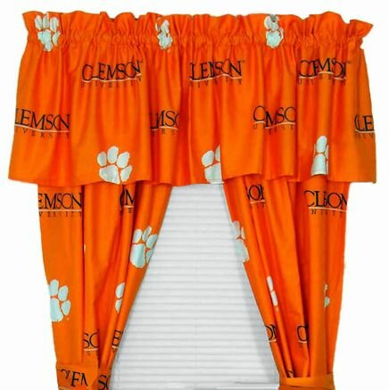 NCAA Clemson Printed Sports Rod Pocket Curtain Panels (Set of 2) by College Covers