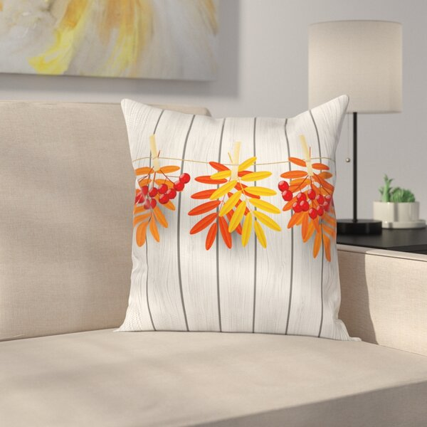 Vibrant Autumn Leaves Square Pillow Cover by East Urban Home