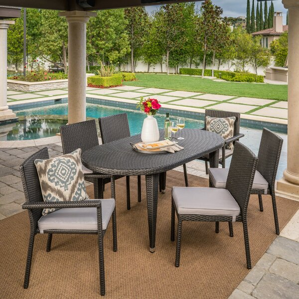 Byrne Outdoor 7 Piece Dining Set with Cushions by Wrought Studio