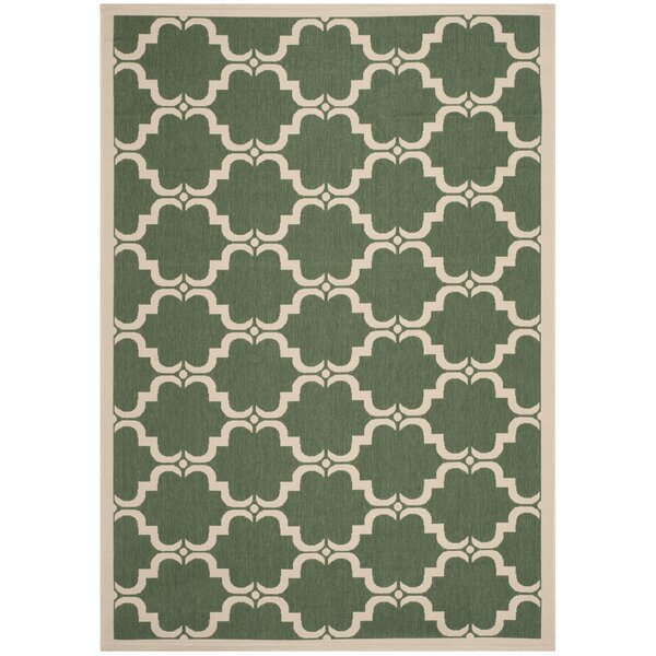 Short Dark Green/Beige Geometric Contemporary Rug by Winston Porter