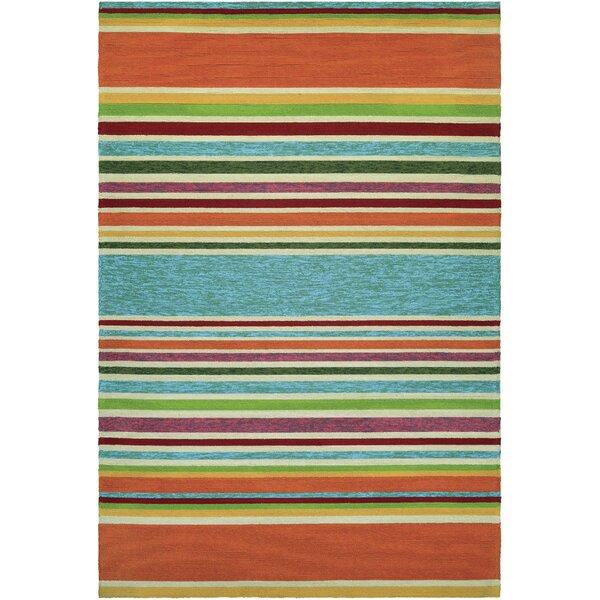 Locklin Hand-Woven Azure/Orange Indoor/Outdoor Area Rug by Beachcrest Home