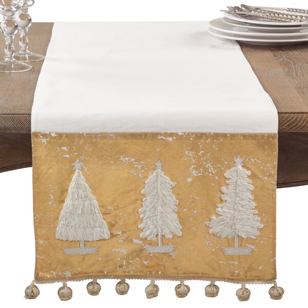Christmas Tree Pom Pom Winter Holiday Cotton Table Runner by The Holiday Aisle