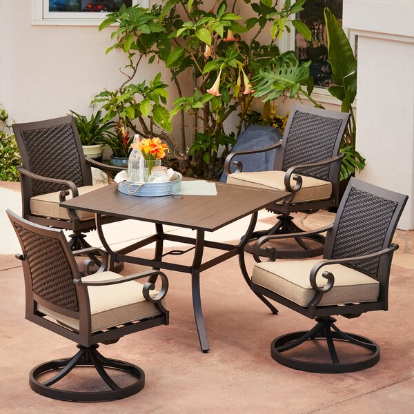 Kingston Seymour Milano 5 Piece Motion Cushion Dining Set with Cushions by Bayou Breeze