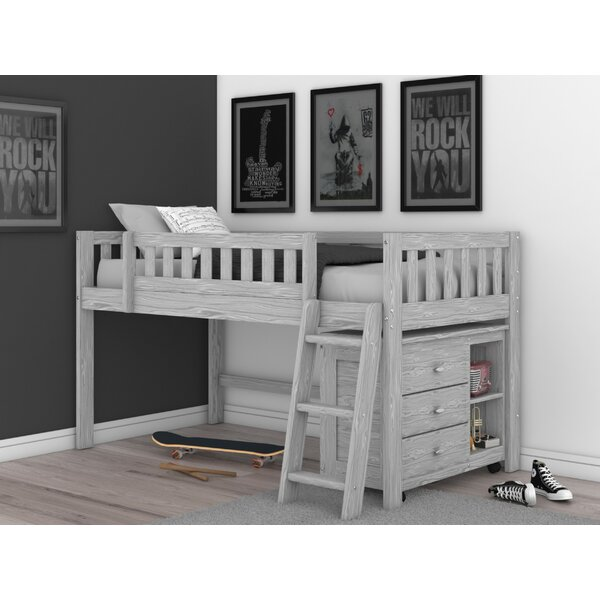 Erastus Twin Low Loft Bed with 3 Drawers by Harriet Bee