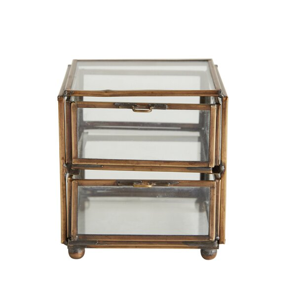 Groveport Glass and Brass 2 Drawer Decorative Box by Charlton Home