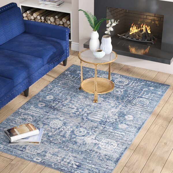 Andrews Distressed Blue Area Rug by Bungalow Rose
