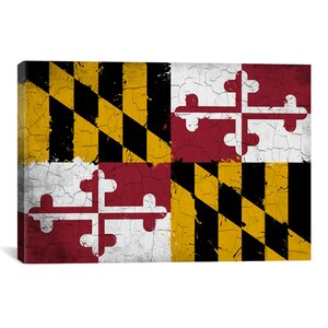 Maryland Flag, Grunge Painted Graphic Art on Canvas by iCanvas