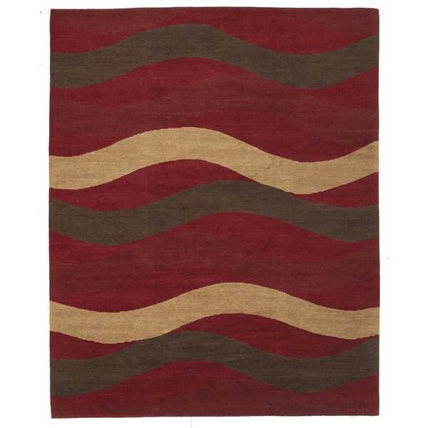 Core Striped Hand-Knotted Wool/Silk Red Area Rug