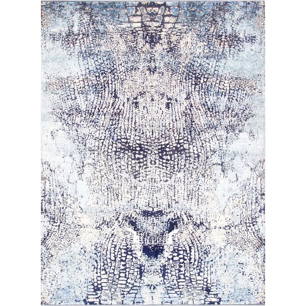 One-of-a-Kind Transitiona Hand-Knotted Blue Area Rug by Pasargad
