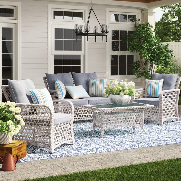 Burrell 4 Piece Rattan Sofa Seating Group with Cushions by Birch Lane™ Heritage
