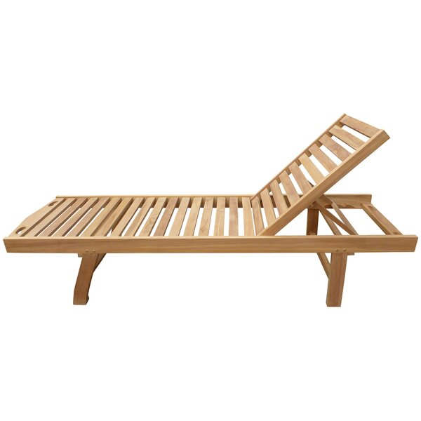 Cosme Pool Reclining Teak Chaise Lounge by Highland Dunes