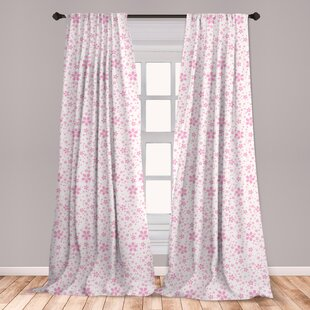 Ambesonne Cherry Blossom Curtains Childish Pink Flowers On White Background Kids S Simple Design Window Treatments 2 Panel Set For Living Room