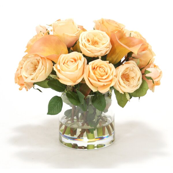 Peach and Rose Calla Lilies in Round Cylinder by Distinctive Designs
