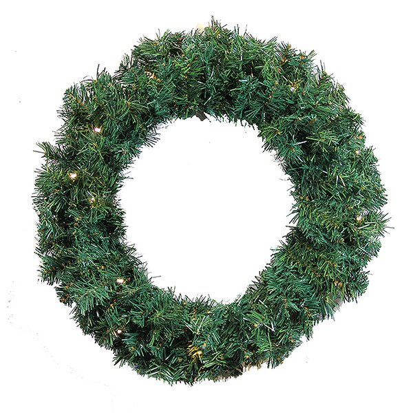 36 Lighted Artificial Orchid Cedar Pine Christmas Wreath by Northlight Seasonal
