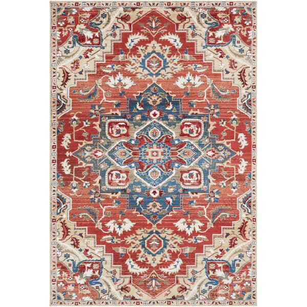 Arbouet Traditional Floral Cream/Red Area Rug by Charlton Home